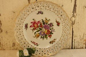 Antique German Plate Dresden Floral Flowers Pierced Reticulated Rim Gold Rim 10