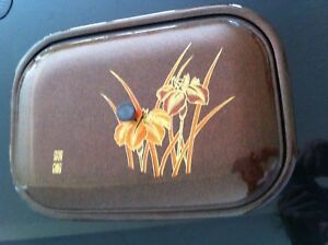 Japanese Lacquerware Iris Design Divided Dish And Cover