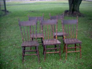 Antique Vintage Oak Dining Chairs Set Of 5 W Extra Rungs Made For Replacements
