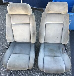 86 Fiero Gt Used Cloth Grey Bucket Seats Perfect For Hot Rat Rod Custom