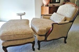 French Bergere Chair With Ottoman Back Cushion Louis Xii Style Local Pickup