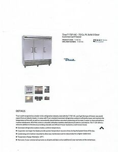True 7 72f hc 72c f Commercial Freezer