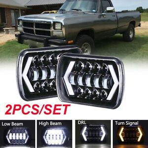 Pair 7x6 Led Headlights Hid Light Bulbs Clear Sealed Beam Headlamp Headlight