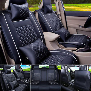 Pu Leather Car Seat Cover Suv Cushions Mat Protector Front Rear Set W pillows Us