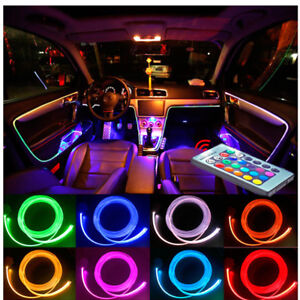 4m 12v 4in1 Rgb Led Car Interior Decor Neon El Strip Light Remote Control