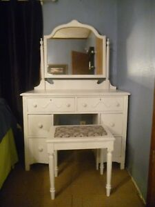 Antique Vanity Dresser Painted Off White Cottage Style Shabby Chic Vintage
