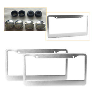 2pcs Stainless Steel Metal Chrome License Plate Frame Tag Cover Screw Caps Topus