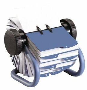 Rolodex Open Rotary Business Card File Holder With 200 Card Sleeve Blue