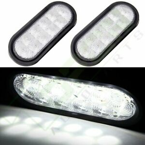 2x 6 Submersible Truck Trailer Oval Stop Turn Tail Light Clear Lens White Led