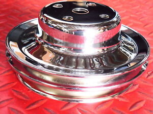 Water Pump Pulley Big Block Chevy Triple Chrome Plated Steel Long Water Pump New
