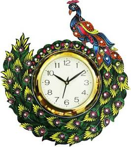 Wooden Clock Antique Handpainted Peacock Design Analog Wall Clock Home Decor 14