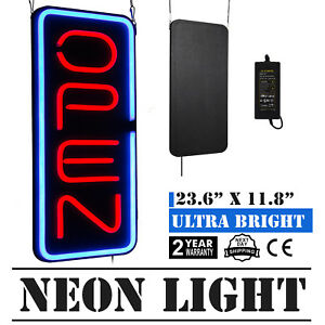 Bright 23 6 x11 8 Vertical Neon Open Sign 30w Led Light Bar Home Red And Blue
