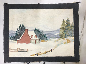 Vintage Hooked Rug By Georges Edouard Tremblay
