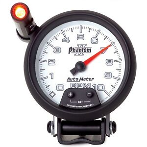 Autometer 7590 Phantom Ii Tachometer With Blue Led Lighting White Dial Face