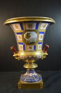 Antique Neoclassical Paris Porcelain Campana Vase In Blue
