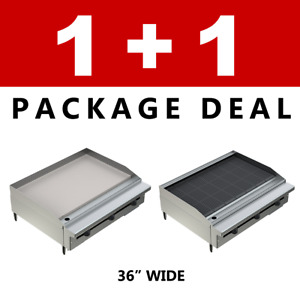 Pantin Commercial Restaurant 36 Charbroiler And Flat Griddle Grill Package Nsf