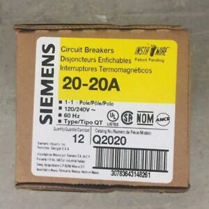 Siemens Q2020 20 20a 120 240 Volt Tandem Circuit Breakers 12 Pack Brand New