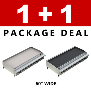 Pantin Commercial Restaurant 60 Charbroiler And Flat Griddle Grill Package Nsf
