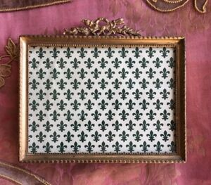 Antique French Picture Frame Gilt Easel Brass Rectangle Louis Xv Bow Ribbon