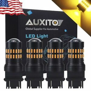 4x Auxito Turn Signal Light Amber 3457a 3157 Led Bulb For Chevrolet Silverado Kk