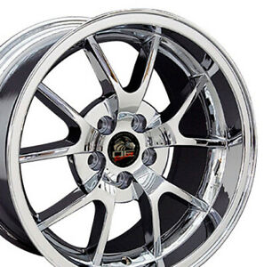 18x9 18x10 Chrome Fr500 Style Wheels Set Of 4 Rims Fit Mustang Gt 94 04 Cp