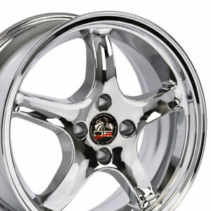 Cp Fits 17x8 Chrome Cobra R Wheels 4 Lug 17 Rims Mustang Gt Lx
