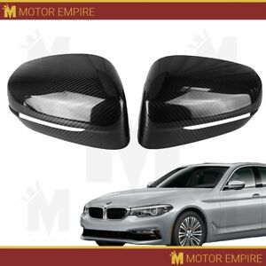2pc Black Carbon Fiber Side Mirror Covers Overlay For 2017 18 Bmw 5 Series G30