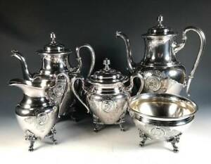 Antique 1860s Starr Marcus Medallion Silverplate Coffee Tea Set Reed Barton