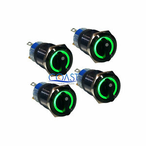 4x Durable 12v 19mm Car Black 3 Position Green Angel Eye Led Selector Switch