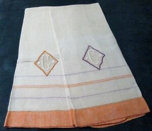 Antique Pair Linen Towels C Monogram On Net Lace Insets Never Used