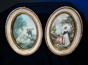 Antique Pair Of Heavily Gilded Oval Wooden Frames Made In Italy Florentia