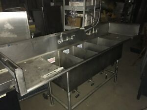 All Stainless Steel Heavy Duty 4 Compartment Kitchen Sink With 2 Faucets
