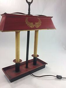 Antique Red Metal W Shade Electric 2 Candle Lamp Table Desk Rectangle Vintage