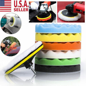 5 6 7 8pcs Polishing Waxing Buffing Sponge Pads Kit Compound Car Polisher Us