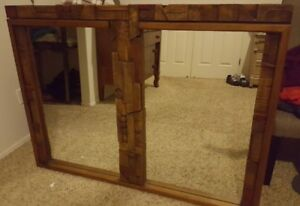 Paul Evans Brutalist Mirror All Wood Mid Century Modern Art 54 5x40 5