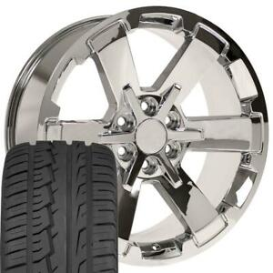 22x9 Fit Gmc Chevy Chrome Rally Style Ck162 22 Rims W ironman Tires Cp