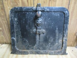 Antique Cast Iron Safe Lockbox Strongbox Woodstove Door Lion Head On Handle