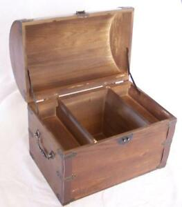 Nice Wooden Treasure Chest Storage Box W Shelf Old Looking S 001 Wood Boxes New