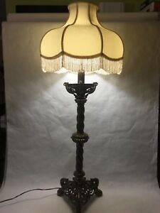Antique Victorian Brass Piano Floor Stand Lamp 44 Tall 11 Lbs Weight
