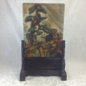Chinese Stone Table Screen Applied Figures Figural Wood Stand Teacher Students