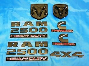 7pcs Black Dodge Ram 2500 Grille Tailgate Cummins Turbo Diesel 4x4 Emblem Badge