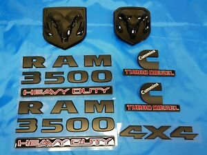 7pcs Black Dodge Ram 3500 Grille Tailgate Cummins Turbo Diesel 4x4 Emblem Badge