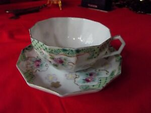 19th C Fine Eggshell Thin Porcelain Tea Cup Saucer Hand Painted Japanese Rare