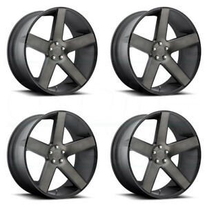 22x9 5 Dub Baller S116 6x5 5 6x139 7 31 Black Machined Wheels Rims Set 4