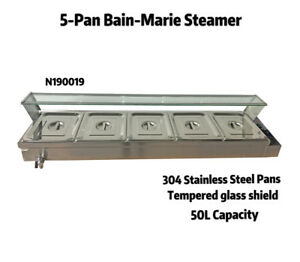 110v 5 pan Commercial Bain marie Buffet Food Warmer Steam Table Warmers Steamer