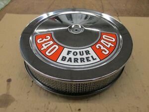Mopar Dodge Plymouth 340 Four Barrel Open Element Air Cleaner 14