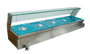 Techtongda 5 pan 304stainless Steel Pans Food Warmer Bain Marie Steam Table 110v