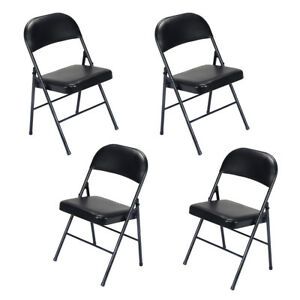 Set Of 4 Fabric Upholstered Padded Seat Metal Frame Folding Chair Portable Black