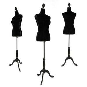 Black Female Mannequin Torso Dress Form With Tripod Stand Display Hollow Foam