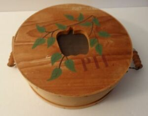 Unique Wood Shaker Style Pie Keeper Stenciled Cover